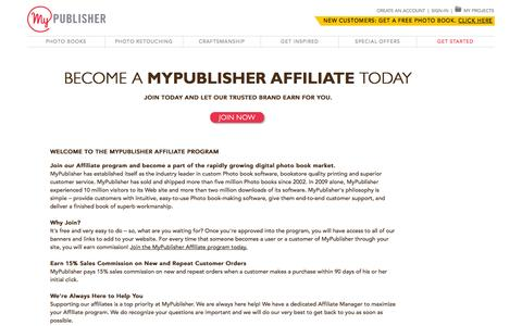Screenshot of Signup Page mypublisher.com - MyPublisher Affiliate Program - captured Oct. 28, 2014
