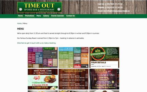 Screenshot of Menu Page timeoutsportsbar.es - Menu – TIME OUT Sports Bar & Restaurant, San Javier, Murcia - captured Oct. 25, 2017