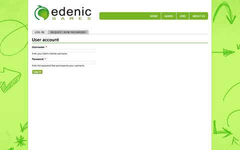 Screenshot of Login Page edenicgames.com - User account | Edenic Games - captured Sept. 29, 2014