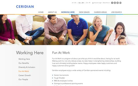Screenshot of Jobs Page ceridian.ca - Fun At Work   Working Here   Careers at Ceridian   Join a global leader in human capital management technology! - captured July 2, 2018