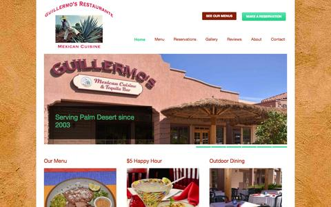 Screenshot of Home Page guillermosrestaurante.com - Guillermo's Mexican Restaurante Palm Desert  Guillermo's Restaurante | Mexican Restaurants Palm Desert | Palm Springs - captured Oct. 3, 2014