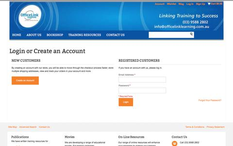 Screenshot of Login Page officelinklearning.com.au - Customer Login - captured June 11, 2017