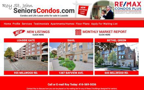 Screenshot of Home Page Menu Page seniorscondos.com - Seniors Condos - captured Nov. 10, 2018