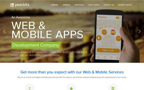 Screenshot of Home Page peerbits.com - Mobile Application Development Company | Web Development | iOS Application Development | Peerbits - captured Sept. 25, 2014