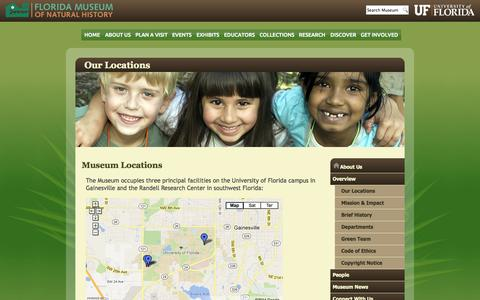 Screenshot of Locations Page ufl.edu - Our Locations :: Florida Museum of Natural History - captured Sept. 13, 2014