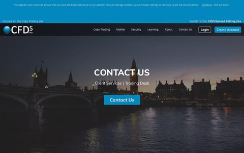 Screenshot of Contact Page cfds.com - Contact CFDs.com   Copy Trading - captured Sept. 25, 2018