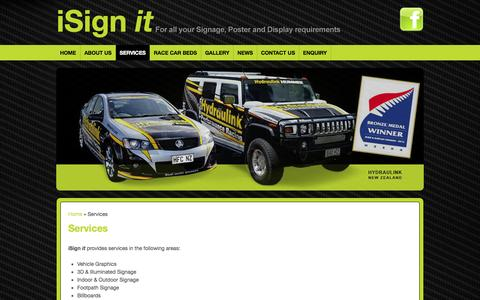 Screenshot of Services Page isignit.co.nz - Services : i Sign it - For all your Signage, Poster and Display Requirements - captured Sept. 30, 2014