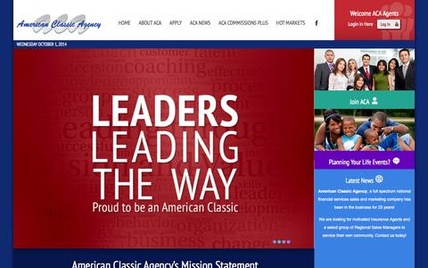 Screenshot of Home Page aclassic.com - Welcome to American Classic Agency - captured Oct. 1, 2014