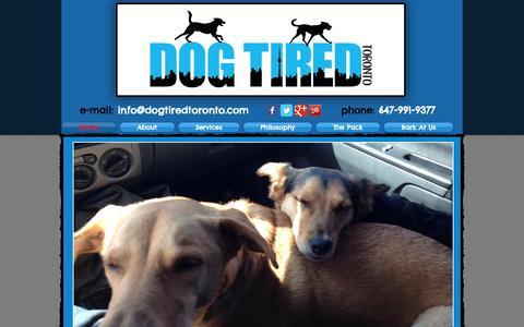 Screenshot of Home Page dogtiredtoronto.com - Dog Tired Toronto - high energy off-leash dog walking service - captured Sept. 30, 2014