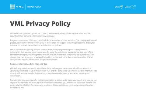 Screenshot of Privacy Page vml.com - Privacy Policy - VML - captured Nov. 26, 2016