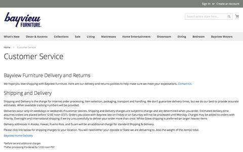Screenshot of Support Page bayviewfurniture.com - Customer Service - captured Aug. 1, 2018