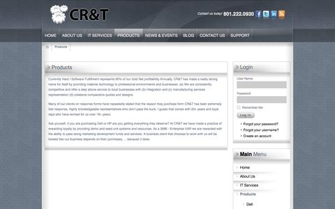 Screenshot of Products Page cr-t.com - Products | Salt Lake City, Northern Utah | CR&T Calculated Research & Technology - captured Oct. 28, 2014