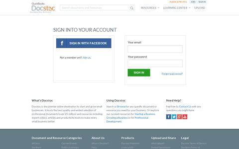 Screenshot of Login Page docstoc.com - Login - captured July 20, 2014