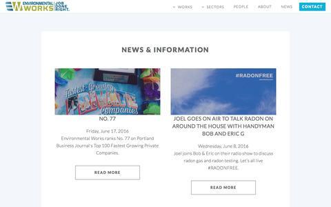 Screenshot of Press Page eworksnw.com - News | Environmental Works - Portland, OR - captured Nov. 9, 2016