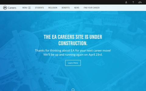 Screenshot of Jobs Page ea.com - Careers at Electronic Arts - Start your Job Search - An Official EA Site - captured April 19, 2018