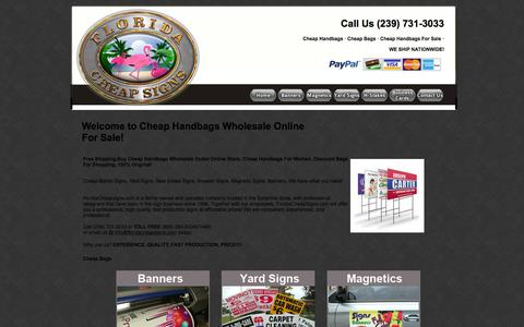Screenshot of Home Page floridacheapsigns.com - Buy Cheap Handbags Wholesale Online For Sale! - captured June 18, 2015