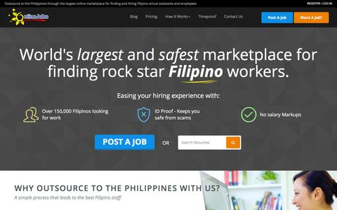 Screenshot of Home Page onlinejobs.ph - Hire the best Filipino employees and virtual assistants the Philippines has to offer! - captured Dec. 2, 2015