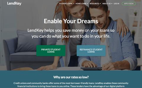 Screenshot of Home Page lendkey.com - Online Student Loans From Credit Unions & Local Banks | LendKey - captured July 13, 2018