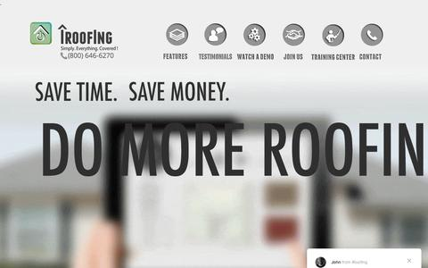 Screenshot of Home Page iroofing.org - iRoofing - Roofing app for contractors | roofing software - captured Jan. 12, 2018