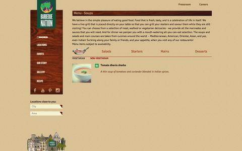 Screenshot of Menu Page barbeque-nation.com - Soups Menu - Barbeque Nation - captured Sept. 25, 2014