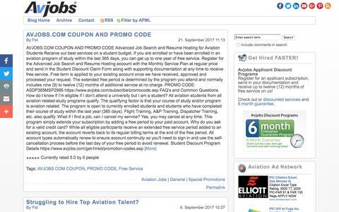 Screenshot of Blog avjobs.com - Avjobs | Aviation Jobs Blog - captured Oct. 5, 2017