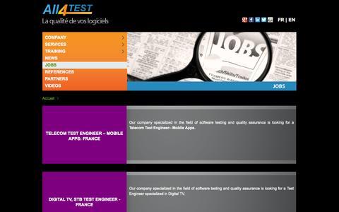 Screenshot of Jobs Page all4test.com - Jobs - All4Test - captured Sept. 30, 2014