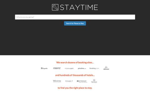 Screenshot of Home Page staytime.com - Staytime Hotel Search - captured Jan. 26, 2015