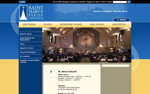 Screenshot of Contact Page stmarysannapolis.org - Home - Contact Us - St. Mary's Parish & Schools - Annapolis, MD - captured Oct. 6, 2014