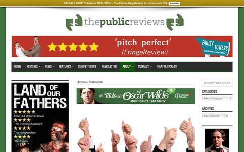 Screenshot of Testimonials Page thepublicreviews.com - Testimonials | The Public Reviews - captured Sept. 30, 2014