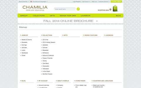 Screenshot of Site Map Page chamilia.com - Sitemap - Chamilia Online Shop - captured Oct. 28, 2014