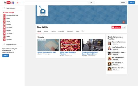 Screenshot of YouTube Page youtube.com - Sew White  - YouTube - captured Nov. 5, 2014