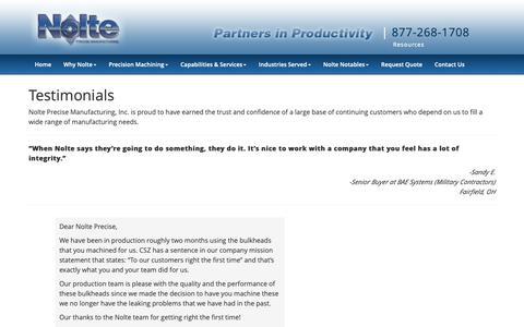 Screenshot of Testimonials Page nolteprecise.com - Customer Testimonials | Nolte Precise Mfg. | Cincinnati, OH - captured Oct. 20, 2018