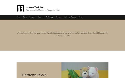 Screenshot of Products Page micomtech.com.hk - Products | Micom Tech Ltd. - captured Oct. 18, 2018