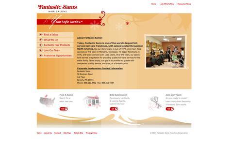 Screenshot of About Page fantasticsams.com - Fantastic Sams - captured Sept. 23, 2014