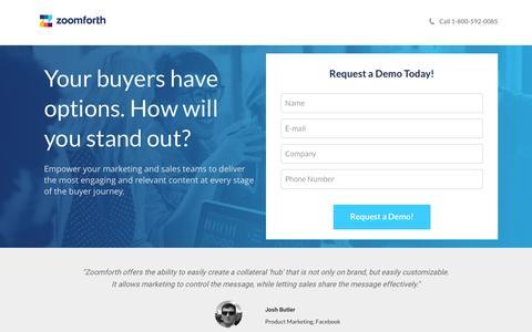 Screenshot of Landing Page zoomforth.com - Zoomforth Sales Engagement Platform - captured June 1, 2016