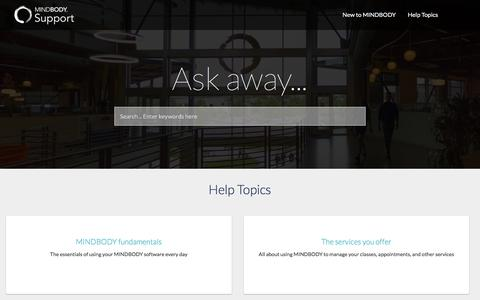 Screenshot of Support Page mindbodyonline.com - Home - captured Jan. 4, 2018