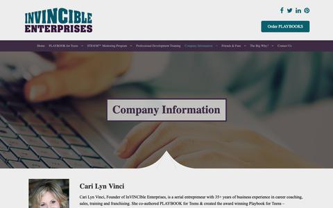 Screenshot of FAQ Page invincibleenterprises.com - Company Information - Invincible Enterprises - captured Oct. 21, 2018