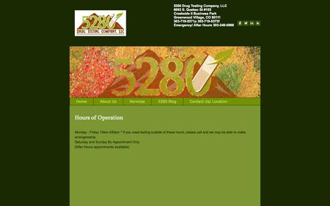 Screenshot of Hours Page 5280drugtesting.com - Hours of Operation - 5280 Drug Testing Company, LLC - captured Oct. 27, 2014