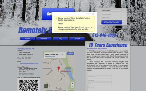 Screenshot of Contact Page remotelystartedmn.com - Remotely Started MN - Remote Car Starter Installation in Apple Valley - captured Feb. 25, 2016