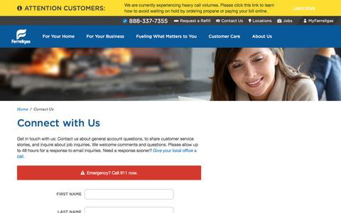 Screenshot of Contact Page ferrellgas.com - Contact Us Online  Ferrellgas - captured Jan. 10, 2018