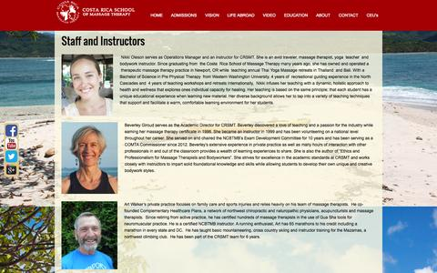 Screenshot of Team Page crsmt.com - Costa Rica School of Massage Therapy - captured Oct. 3, 2014