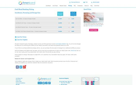 Screenshot of Pricing Page cordadvantage.com - Cord Blood Banking Cost - captured Oct. 4, 2014