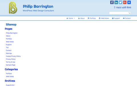 Screenshot of Site Map Page philipbarrington.net - Sitemap – Philip Barrington - captured July 17, 2018