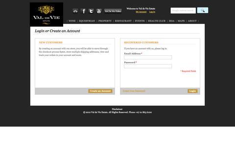 Screenshot of Login Page valdevie.co.za - Customer Login - captured Oct. 27, 2014