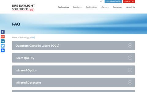Screenshot of FAQ Page daylightsolutions.com - Quantum Cascade Lasers (QCL) Frequently Asked Questions | What Is A QCL? - captured July 13, 2018
