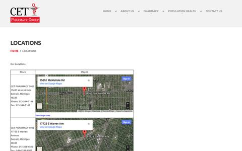 Screenshot of Locations Page cetrxgroup.com - Locations  |  CET Pharmacy Group - captured Oct. 1, 2014