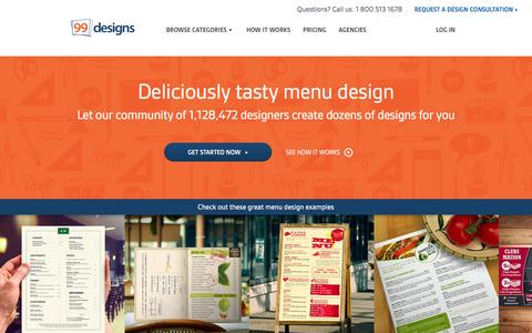 Screenshot of Menu Page 99designs.com - Menu Design | 100% Money Back Guarantee | 99designs - captured Nov. 13, 2015