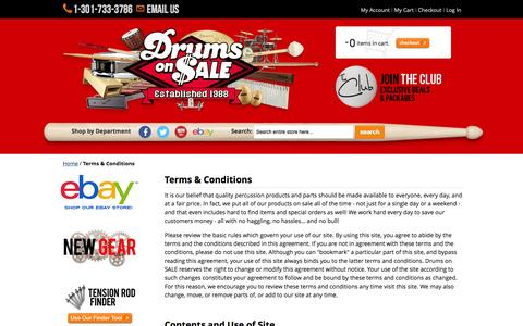 Screenshot of Terms Page drumsonsale.com - Terms & Conditions Drums on SALE - captured Jan. 8, 2016