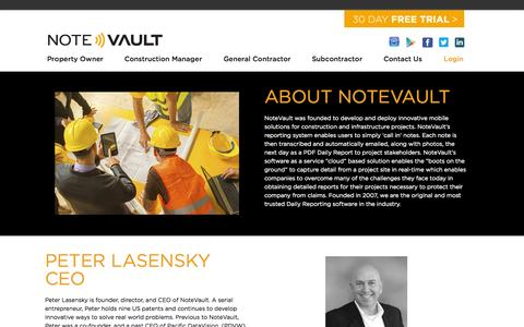 Screenshot of About Page notevault.com - About Us - NoteVault - captured Aug. 11, 2015