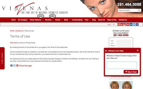 Screenshot of Terms Page drvitenas.com - Terms of Use - captured Sept. 22, 2018